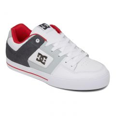 DC Mens Pure Skate Shoes - White Grey Red