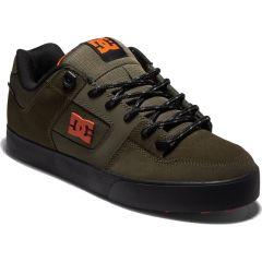 DC Mens Pure WNT Skate Shoes - Dusty Olive Orange