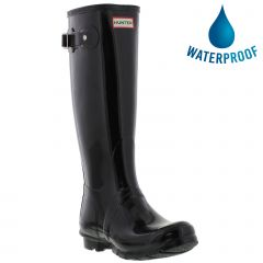 Hunter Womens Original Tall Gloss Wellies Rain Boots - Black