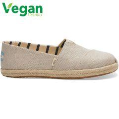 Toms Womens Classic Espadrille Vegan Shoes - Natural Pearlised Metallic