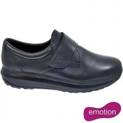 Joya Mens Edward Velcro Leather Shoes - Black