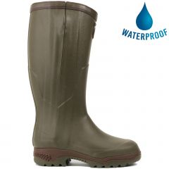 Aigle Mens Parcours 2 ISO Open Full Zip Wellies Hunting Boots - Khaki Green