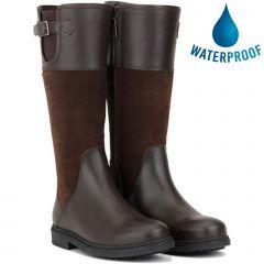 Aigle Womens Parfield Waterproof Country Yard Boots - Dark Brown