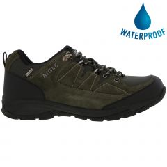 Aigle Mens Vedur Low Waterproof Walking Hiking Shoes Trainers - Khaki Black