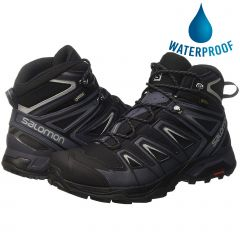 Salomon Mens X Ultra 3 Mid GTX Wide Fit Walking Hiking Boots - Black India Ink Monument