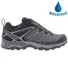 Salomon Mens X Ultra 3 GTX Wide Fit Waterproof Walking Trainers - Black Magent Quiet Shade