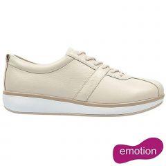 Joya Womens Emma Emotion Leather Lace Up Shoes - Cream