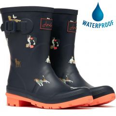 Joules Womens Molly Welly Short Wellington Boots - Navy Beach Dogs