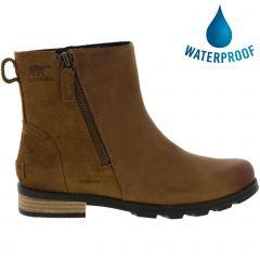 Sorel Womens Emelie Zip Bootie Waterproof Boots - Camel Brown