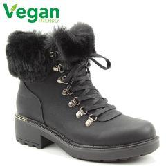 Heavenly Feet Womens Antonia Vegan Boots - Black