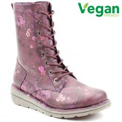 Heavenly Feet Womens Martina 2 Vegan Boots - Purple Floral