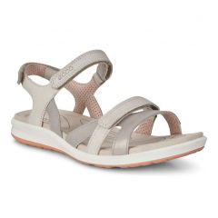 Ecco Shoes Womens Ecco Cruise II Leather Sandals - Silver Grey Gravel Rose Dust