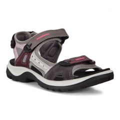 Ecco Shoes Womens Offroad Leather Walking Sandals - Multicolour Wine