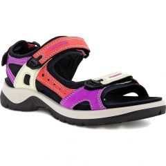 Ecco Shoes Womens Offroad Leather Walking Sandals - Multicolour Hibiscus