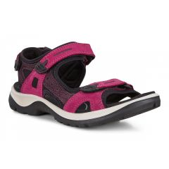 Ecco Shoes Womens Offroad Leather Walking Sandals - Sangria Fig
