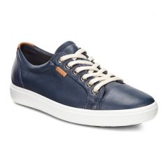 Ecco Shoes Womens Soft 7 Leather Trainers - Marine Blue