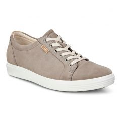 Ecco Shoes Womens Soft 7 Leather Trainers - Warm Grey