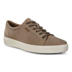 Ecco Shoes Mens Soft 7 Leather Trainers - Navajo Brown