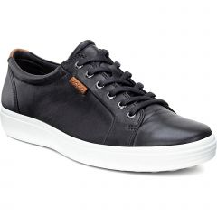 Ecco Shoes Mens Soft 7 Leather Trainers - Black