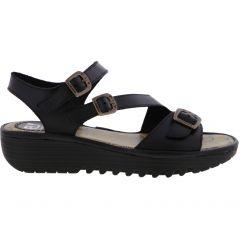 Fly London Womens Elit Chunky Wedge Sandal - Black