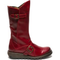 Fly London Mes 2 Womens Mid Calf Wedge Zip Up Boots - Red