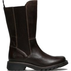 Fly London Womens Relm Leather Boots - Dark Brown