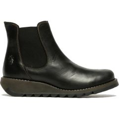 Fly London Salv Womens Leather Wedge Chelsea Ankle Boots - Black