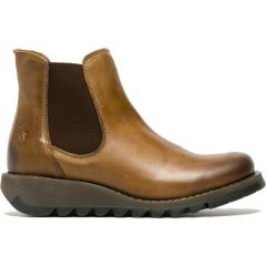 Fly London Salv Womens Leather Wedge Chelsea Ankle Boots - Camel
