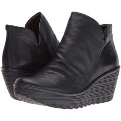 Fly London Womens Yip Leather Wedge Ankle Boots