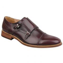 Goor Mens Twin Buckle Monk Shoes - Oxblood