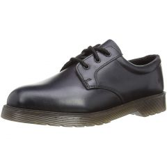 Grafters Mens Uniform Leather 3 Eyelet Gibson Shoe - Black