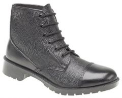 Grafters Mens Black Leather Cadet Ankle Boots - Black