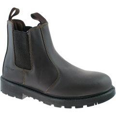 Grafters Mens Womens Grinder Chelsea Steel Toe Cap Boots - Brown