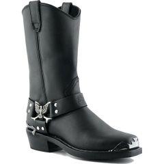 Grinders Mens Eagle Hi Cowboy Western Biker Boots - Black
