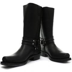 Grinders Mens Renegade Hi Harness Cowboy Biker Boots - Black
