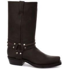 Grinders Mens Renegade Hi Harness Cowboy Biker Boots - Dark Brown