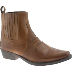 Gringos Woodland Mens Leather Cowboy Western Ankle Boots - Tan Brown