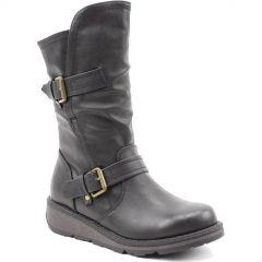 Heavenly Feet Womens Hannah 2 Vegan Wedge Boots - Black