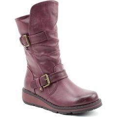 Heavenly Feet Womens Hannah 2 Vegan Wedge Boots - New Berry