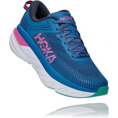Hoka One One Womens Bondi 7 Running Shoes - Vallarta Blue Phlox Pink