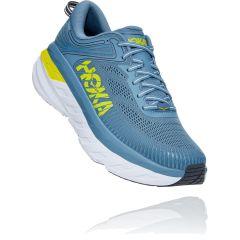 Hoka One One Mens Bondi 7 Road Running Shoes - Provincial Blue Citrus