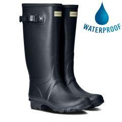 Hunter Womens Wellies Field Huntress Rain Boots - Navy Blue