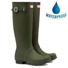 Hunter Mens New Original Tall Wellies Rain Boots - Dark Olive