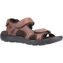 Hush Puppies Mens Carter Adjustable Leather Sandals - Brown