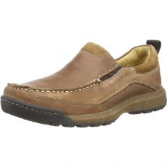Hush Puppies Mens Duncan Slip On Leather Loafer Shoes - Brown