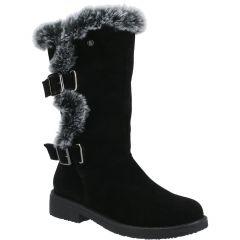 Hush Puppies Womens Megan Mid Calf Leather Boots - Black