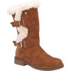 Hush Puppies Womens Megan Mid Calf Leather Boots - Tan