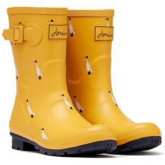 Joules Womens Molly Welly Short Wellington Boots - Gold Ducks