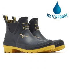 Joules Womens Wellibob Short Wellies Rain Boots - Black Metallic Bees