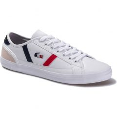 Lacoste Mens Sideline TRI1 Trainers - White Navy Red